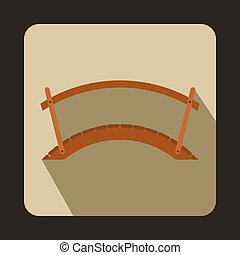 Wooden bridge icon, flat style