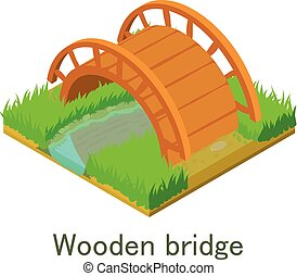 Wooden bridge icon, isometric style.