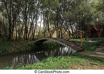 Wooden bridge in a garden