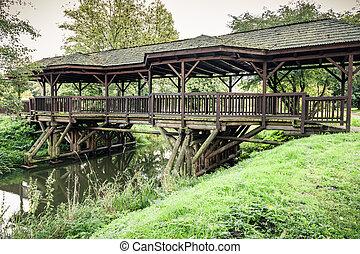 Wooden Bridge in Bialowieza National Park