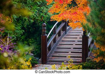 wooden bridge in japanese garden