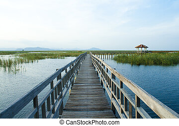 Wooden Bridge in lotus lake at khao sam roi yod national...