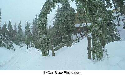 Wooden bridge in sky resort - Wooden bridge in mountains in...