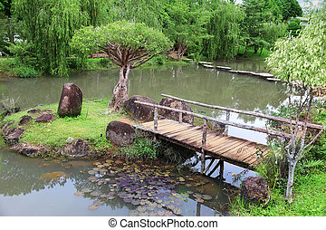 Wooden bridge in the garden
