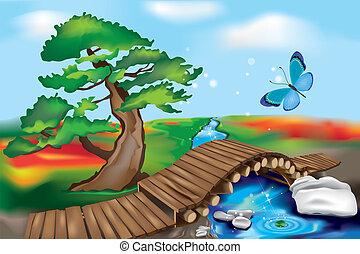Oriental Garden with creek and wooden Bridge. Zen Landscape.