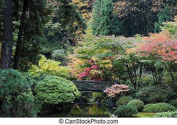 Wooden bridge, Japanese Garden, Portland, Oregon
