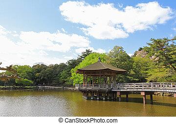 Ukimido gazebo Pavilion at Sagiike Pond, Nara Park in Nara, Japan