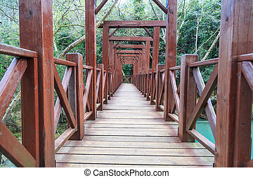 Wooden Bridge on Lake