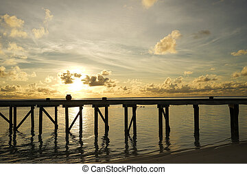 wooden bridge on the beach