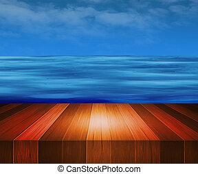 Wooden Bridge on the Sea