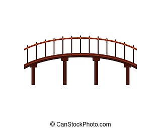 Wooden bridge on white background. Vector illustration.