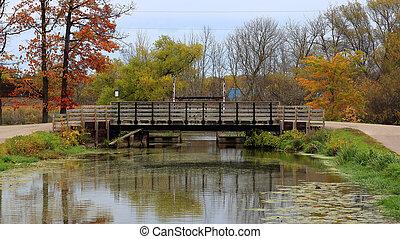Wooden bridge over a creek