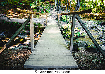Wooden bridge over a small river