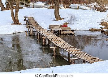 Wooden bridge over a small river
