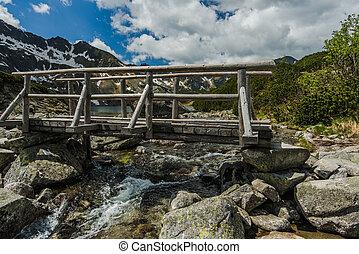 wooden bridge over alpine lake in Tatra mountains