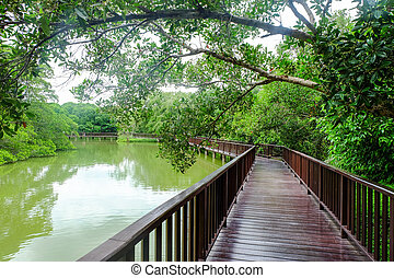 Wooden bridge over lake in evening. holiday concept.