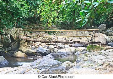 wooden bridge over the stream