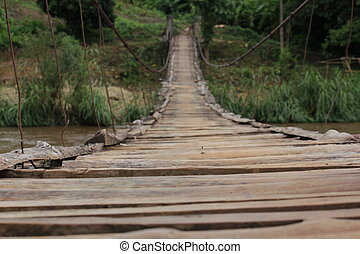 Wooden bridge over the wire rope.