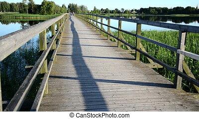 wooden bridge people