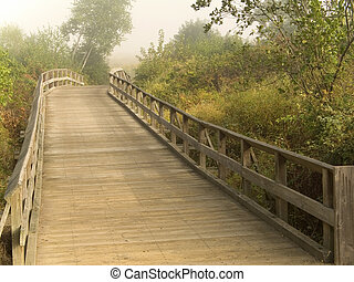 This is a shot of an old wooden footbridge taken in the early morning.