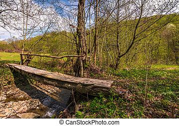 wooden bridge through forest stream. beautiful nature...