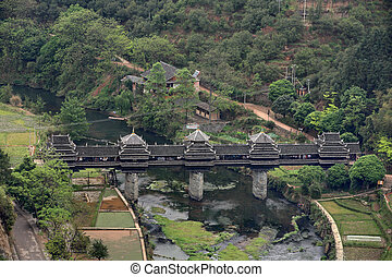 Wooden bridge village Chengyang, tourist attractions in the...
