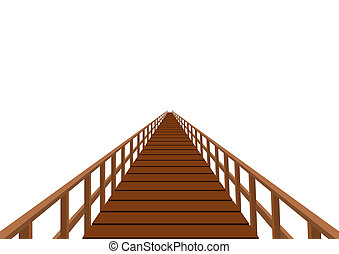 Wooden bridge with a handrail