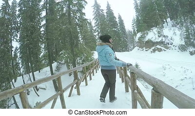 Wooden bridge with girl