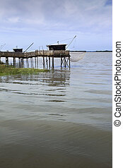 Wooden bridges and huts