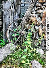 wooden broken wheel