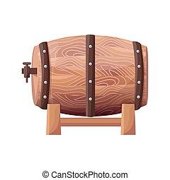 Wooden Brown Barrel on Vector Illustration White