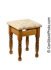 Wooden brown stool isolated on white