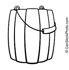Wooden bucket for bathhouse with a handle in black lines on white backgound