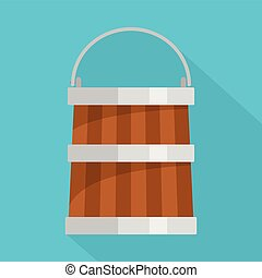 Wooden bucket icon, flat style