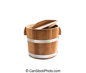 Wooden bucket is isolated