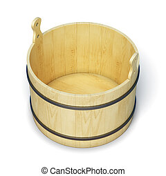Wooden bucket isolated on white background. 3d illustration