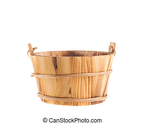 Wooden bucket isolated over white background