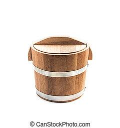 Wooden bucket on white background