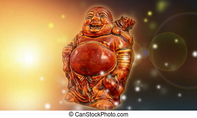 Wooden Buddha sculpture in sun rays