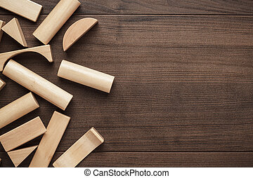 wooden building blocks toy on the table