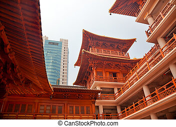Wooden Buildings Hallsl Jing An Temple Shanghai China -...