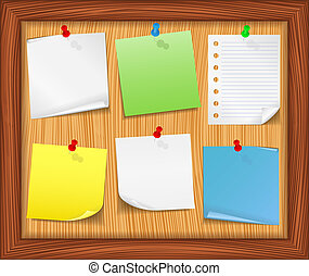 Wooden bulletin board with paper notes, vector eps10 illustration