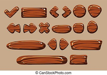 Wooden buttons of different shapes set, details for computers games, apps interface vector Illustration vector Illustration