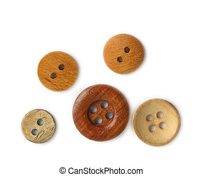 Wooden buttons on white background
