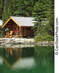 Wooden cabin at Lake O'Hara, Yoho National Park, British Columbia, Canada