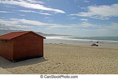 Wooden cabin in northen portuguese beach