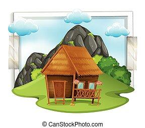 Wooden cabin in the field