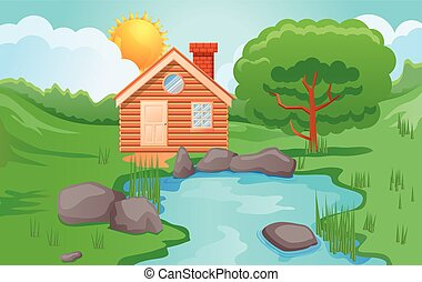 Wooden cabin in the forest vector