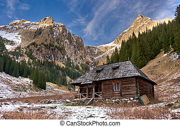 Wooden cabin in the mountains