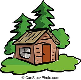 wooden cabin in the woods vector illustration sketch hand drawn with black lines isolated on white background